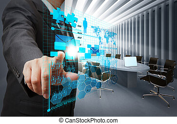 businessman hand point on virtual business network in board...