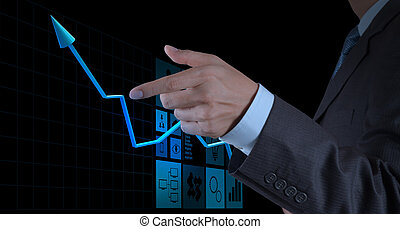 businessman hand pointing 3d virtual chart business on touch screen computer