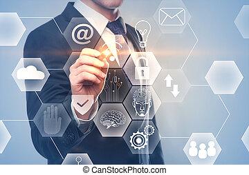 Futuristic innovation and ai concept - Businessman hand...