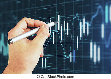 Businessman hand pointing at forex chart screen interface