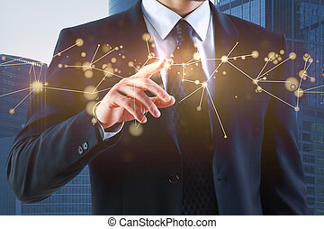 Businessman hand pointing at hologram