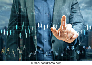 Businessman hand pointing at stock chart interface  on virtual screen.