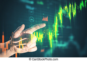 Businessman hand pointing at stock chart screen interface with data.