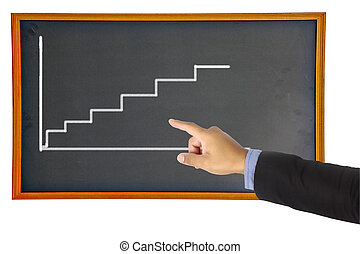 Businessman hand pointing graph