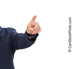Businessman hand pointing isolated on white background. clipping path
