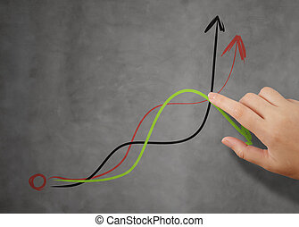 businessman hand pointing to graph and business strategy as conc