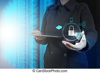 businessman hand pointing to padlock on touch screen computer as
