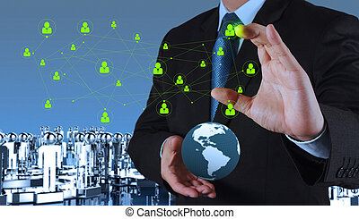 businessman hand pointing to social network