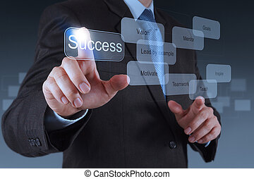 businessman hand pointing to success diagram