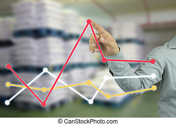 businessman hand pointing to top of profitability graph in your work concept business.