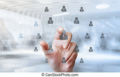 businessman hand points the human resources as concept