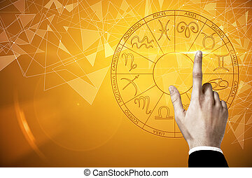 Future and taurus concept - Businessman hand pressing...