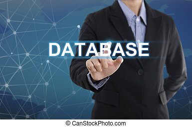 Businessman hand pressing button database. sign on virtual screen. business concept.