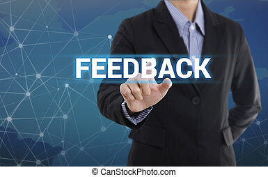 Businessman hand pressing button feedback. sign on virtual screen. business concept.