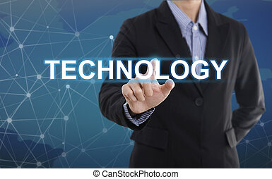 Businessman hand pressing button technology. sign on virtual screen. business concept.
