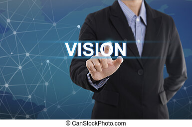 Businessman hand pressing button vision. sign on virtual screen. business concept.