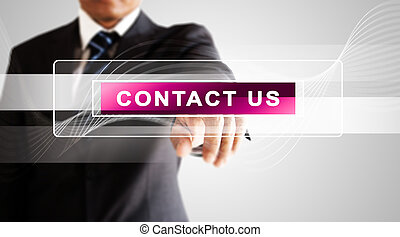 Businessman hand pressing on contact us screen