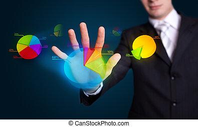hand pressing pie chart button - Businessman hand pressing...