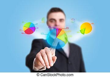hand pressing pie chart button - businessman hand pressing ...