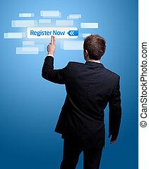 hand pressing register now button. - Businessman hand...