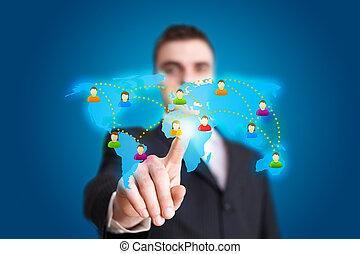 Businessman hand pressing Social network icon 2
