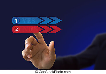 businessman hand pushing a button interface on blue background
