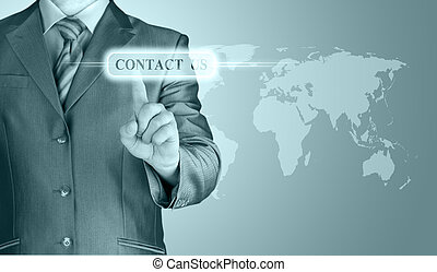 businessman hand pushing contact us button