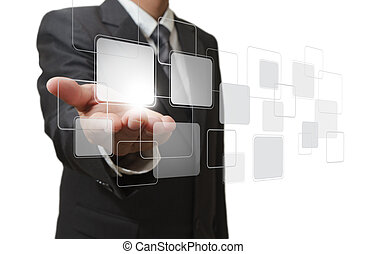 hand pushing on a touch screen interface - businessman hand ...