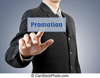 businessman hand pushing promotion button