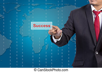 businessman hand pushing success button on a touch screen