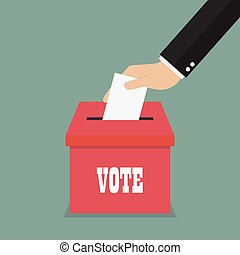 Businessman hand putting paper in the ballot box. Voting concept