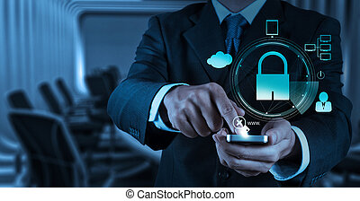 businessman hand show 3d mobile phone with padlock as Internet security online business concept