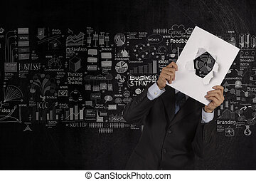 businessman hand show blank cover book of business strategy background as concept