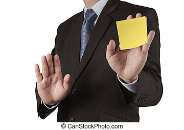 businessman hand show blank sticky note with white background as concept