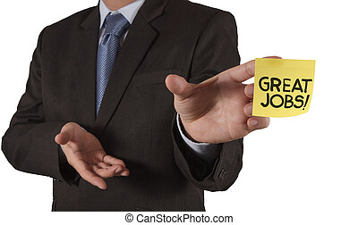 businessman hand show great jobs words on sticky note with ...