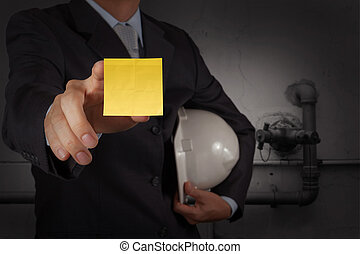 businessman hand show great jobs words on sticky note with white background as concept