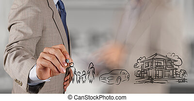 businessman hand show planning family future on screen background as concept