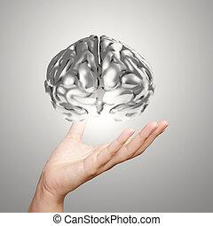 businessman hand showing 3d metal human brain as concept