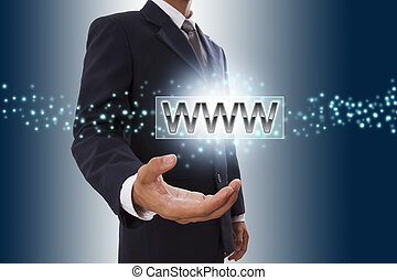 Businessman hand showing domain name button on virtual screen.