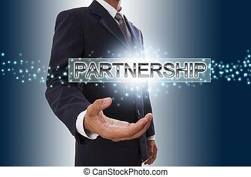 Businessman hand showing partnership button on virtual screen.