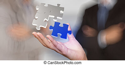 businessman hand showing partnership sign as concep