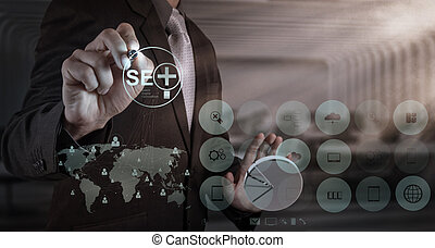 businessman hand showing search engine optimization SEO