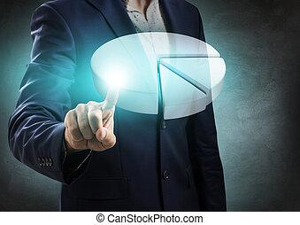 Businessman hand showing white digital pie graph.