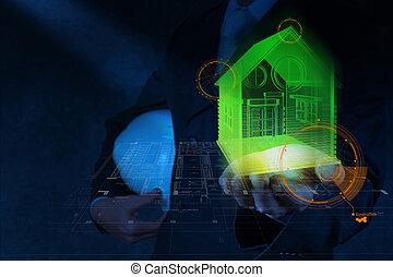 businessman hand shows house model as concept
