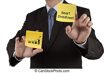 businessman hand showsmart investment  words on sticky note with white background as concept