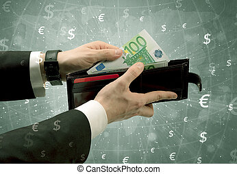 Businessman hand takes out euro from wallet