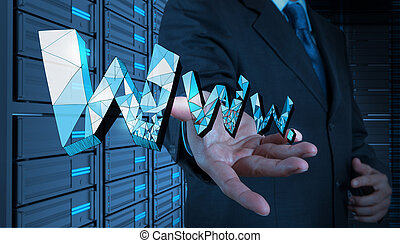 businessman hand touch handdrawn WWW. as internet concept