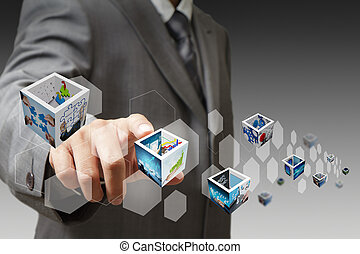 businessman hand touch virtual button and 3d images