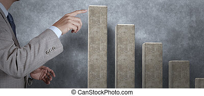 businessman hand touch virtual cement graph