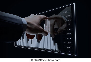 Businessman hand touch virtual diagram
